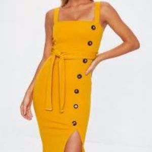 Mustard Yellow Strappy Midi Dress W/ Belt US-6